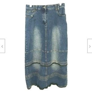 CAROLINA BLUES Long Maxi Skirt Denim BY CAROLINA
